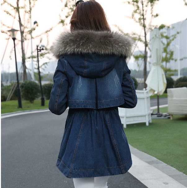 New Arrival Women'S Thick Raccoon Fur Collar Loose Winter Denim Jacket Long Section Casual Cloak Plus Velvet Parkas Coat S2291 2017 winter new clothes to overcome the coat of women in the long reed rabbit hair fur fur coat fox raccoon fur collar