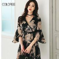 COLOREE Strandkleid Frauen 2018 Sommer Neue Koreanische Mode Druck Aufflackern-hülse Chiffon-Kleid Sexy V Neck Belted Sommer Kleid