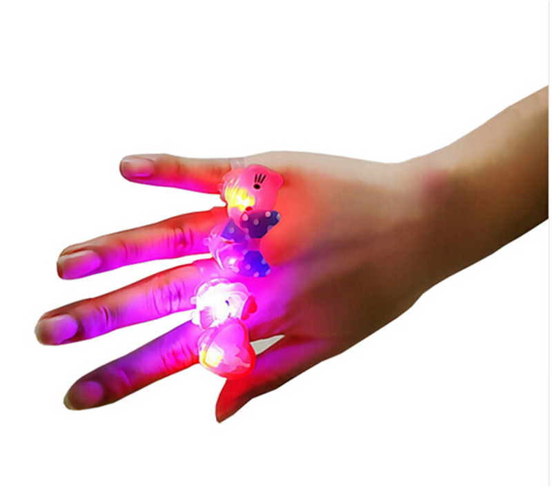 10 Pcs lot Baby Anime Cartoon LED Flashing Light Up Glowing Finger Rings font b Electronic