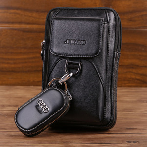 Image 3 - Bolsa de cintura masculina crossbody fanny bolsa de couro genuíno moda celular caso do telefone móvel mensageiro bolsa de ombro masculino cinto gancho pacote