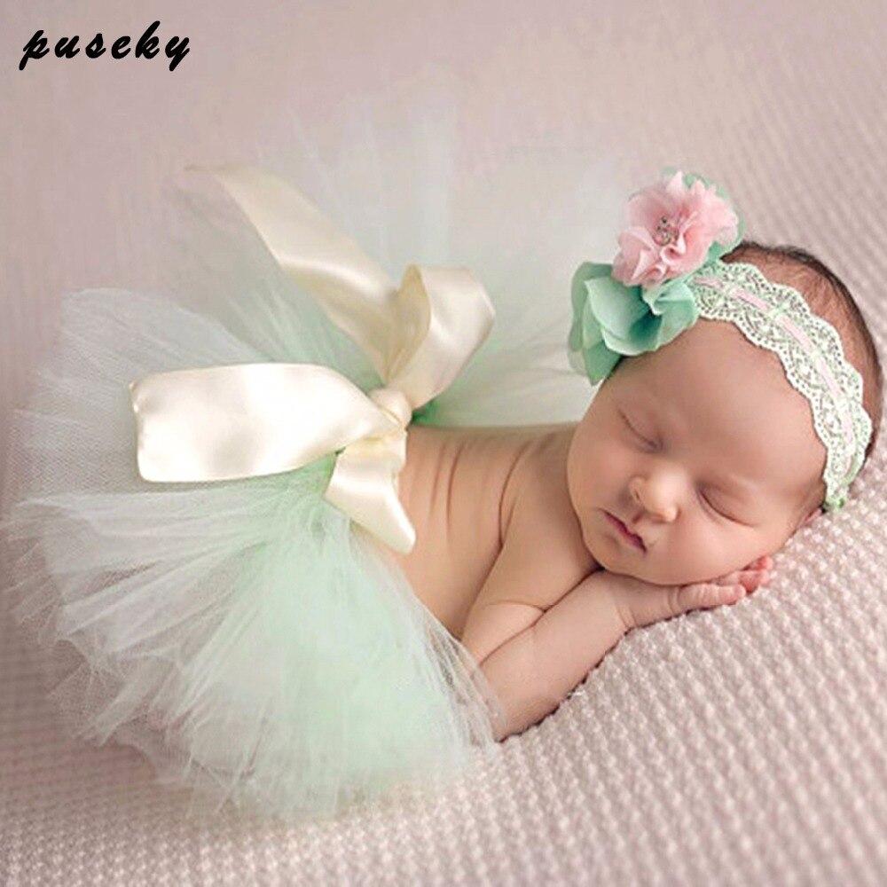 2 stks / set Pasgeboren Baby Meisjes Jongens Tutu Rok + Hoofdband Effen Kleur Kant Kostuum Foto Fotografie Prop Outfits Babykleding Set