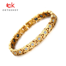 Oktrendy New Women Bracelet Bangle Crystal Stone Hematite Magnetic bracelets gold color Health Care Party Jewelry