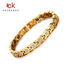 Oktrendy New Women Bracelet Bangle Crystal Stone Hematite Magnetic bracelets gold color Health Care Party Jewelry