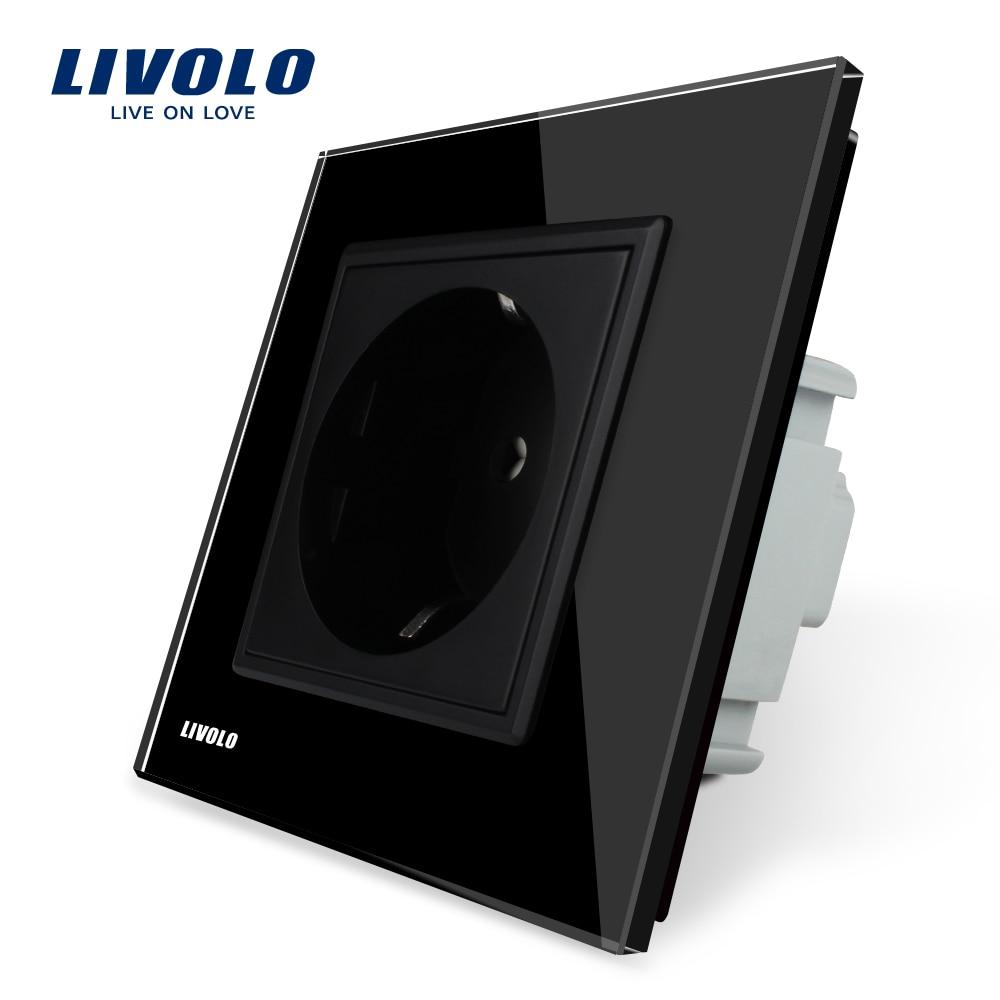 Livolo EU Steckdose, schwarz Kristallglas-verkleidung, 16A EU Standard-steckdose ohne Stecker VL-C7C1EU-12