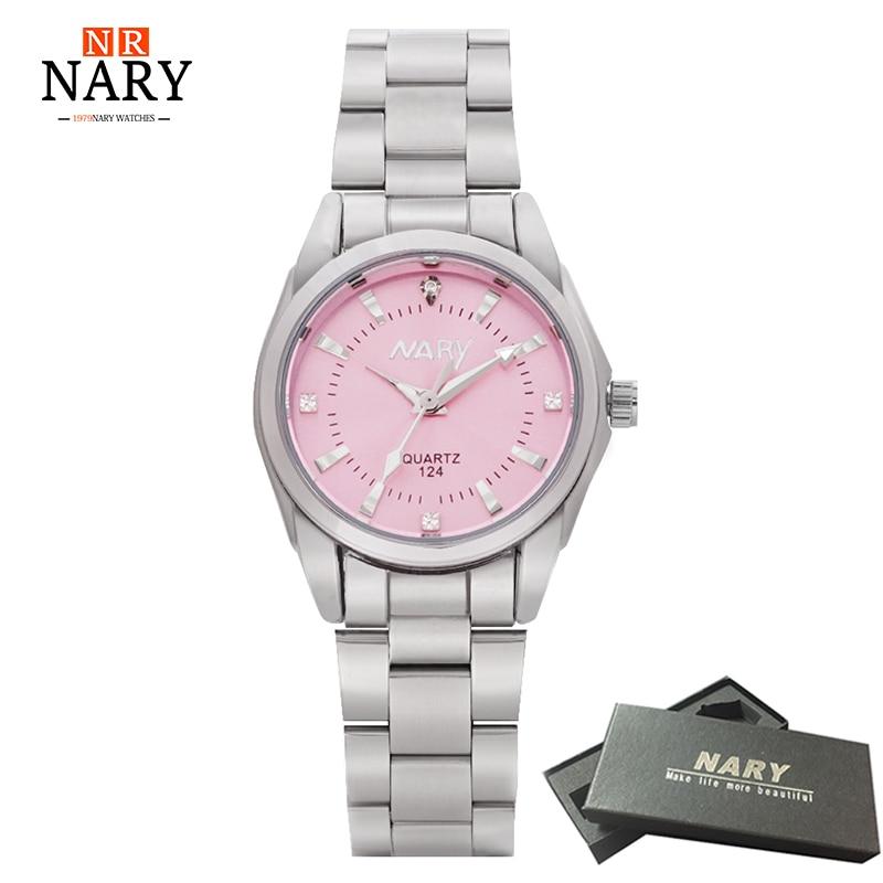 NARY klocka kvinnor mode lyx klocka Färgglada Dial Reloj Mujer Concise Girl Quartz Watch kvinnliga Rhinestone klockor Dam klocka