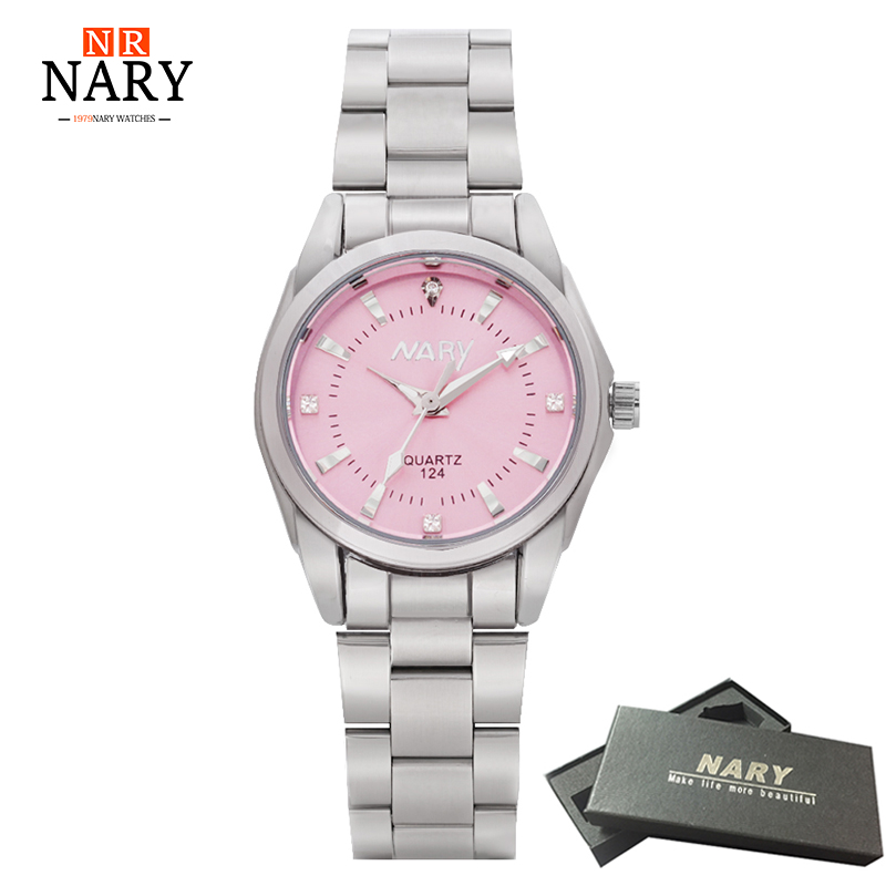 Reloj NARY reloj de lujo de moda para mujer Dial colorido Reloj Mujer Reloj de cuarzo conciso para mujer Relojes de diamantes de imitación femeninos Reloj para mujer