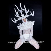 Led Luminous Nightclub Men DS White Feather Antlers Head Costumes Dance Team Clothing Party Performance DJ