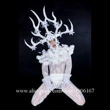 СВЕТОДИОДНЫЕ светящиеся ночной клуб Для мужчин DS белый Перо рога голову костюмы танцевальная команда Костюмы вечерние производительность DJ певица танец наряд