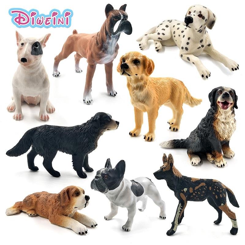 Dalmatian Bulldog Bull Terrier Labrador Siberian Husky Dog Animal Model Figures Figurines Home Decor Gift For Children Kids Toys