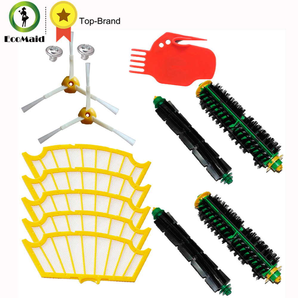 For robot Roomba Vacuum Cleaner 500 Series Replace Bristle Brush Flexible Beater Brush Side Brushes 3-Armed Screws Cleaning Tool 3 armed side brush flexible beater brush bristle brush filter for irobot roomba 500 series vacuum cleaner accessory kit