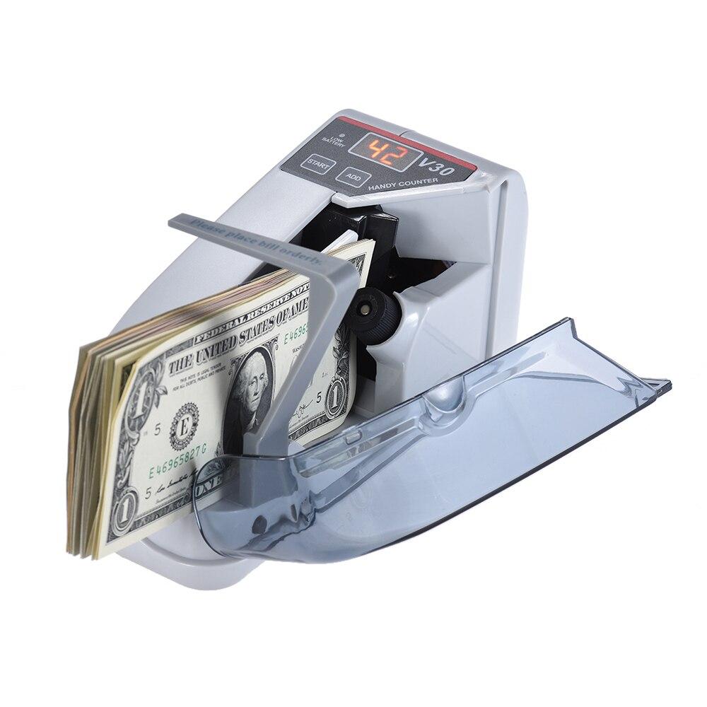 Mini Argent Monnaie Comptage Machine Handy Bill Cash Compteuse de billets l'argent AC ou Batterie Alimenté pour faux dollar d'argent de L'UE NOUS