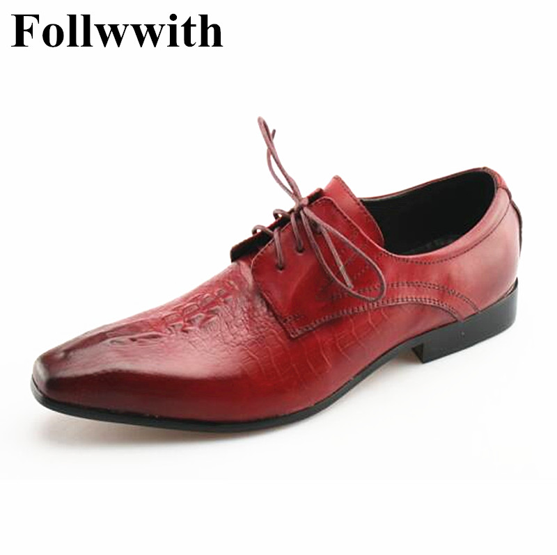 2018 Luxury Follwwith Brand Lace Up Red Print Leather Men Casual Shoes Fashion Flats  Sexy Dress Shoes Mens Sapatos Spring high quality men flats casual new genuine leather flat shoes men oxford fashion lace up dress shoes work shoe sapatos