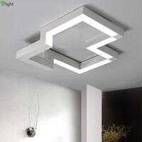 Nordic Геометрия светодиодные светильники потолочные черный/белый металл Гостиная светодиодные светильники потолочные акрил Спальня потоло