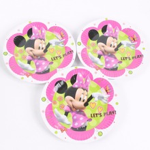 10 Pcs/lot 7inch Disposable Plate Kids Girls Birthday Party Decor Cartoon Minnie Mouse Cake Dishes Paper Plates Tableware(China)