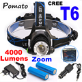 CREE XM-L T6 4000LM LED Farol 18650 Farol lanterna head light lamp + 2x18650 Bateria + carregador de carro + carregador UE/EUA
