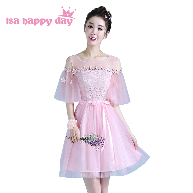 Elegant Half Sleeve Teen Short Pink Bridesmaid Birthday Party Dresses Tulle Knee Length Dress Classy For Wedding Guest H4296 Buy At The Price Of 21 85 In Aliexpress Com Imall Com