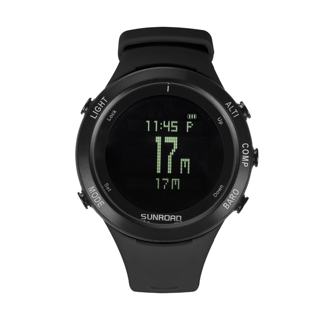 SUNROAD Men Waterproof Heart Rate Barometer Altimeter Compass Digital Military Watch with Pedometer USB Charge Backlight RelogioSUNROAD Men Waterproof Heart Rate Barometer Altimeter Compass Digital Military Watch with Pedometer USB Charge Backlight Relogio