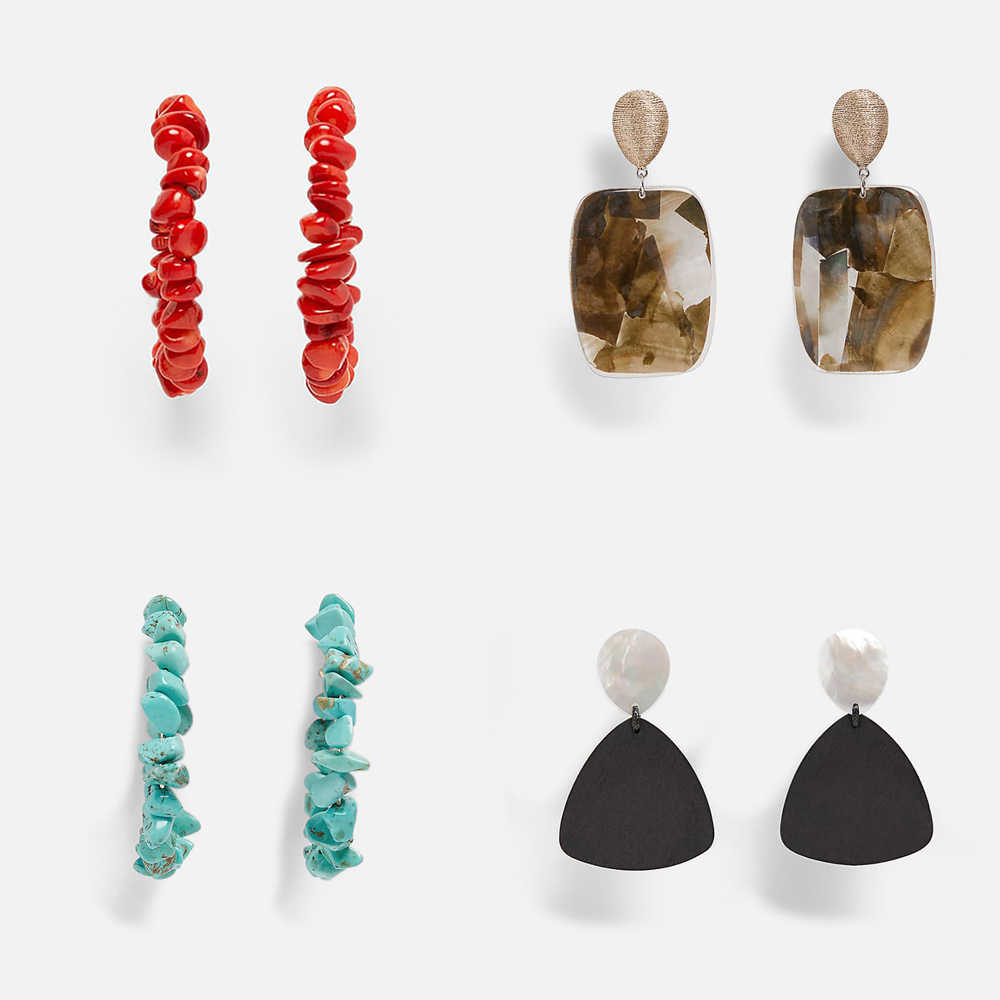 Top Quality ZA New 2019 Fashion Geometric Dangle Earring for Women Vintage Resin Wood Statement Drop Earring Female Jewelry Gift