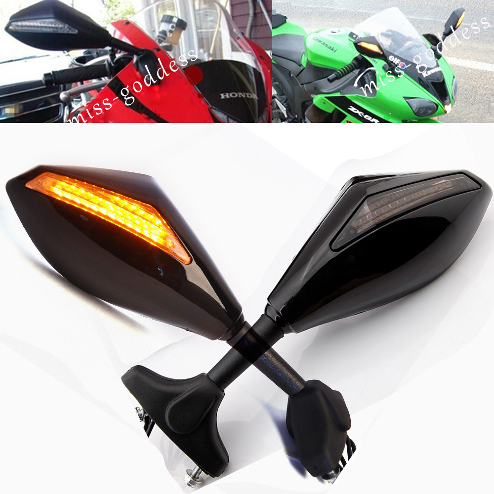Brand New Motorcycle LED Turn Signal Integrated Mirrors for <font><b>Yamaha</b></font> R6 R1 FZ6 FZ1