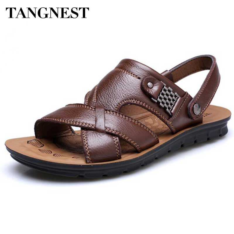 Tangnest Men Sandals 2017 New PU Leather Summer Slippers Men Casual Beach Shoes Soft Bottom Slip-on Sandal Man Size 38~44 XML174