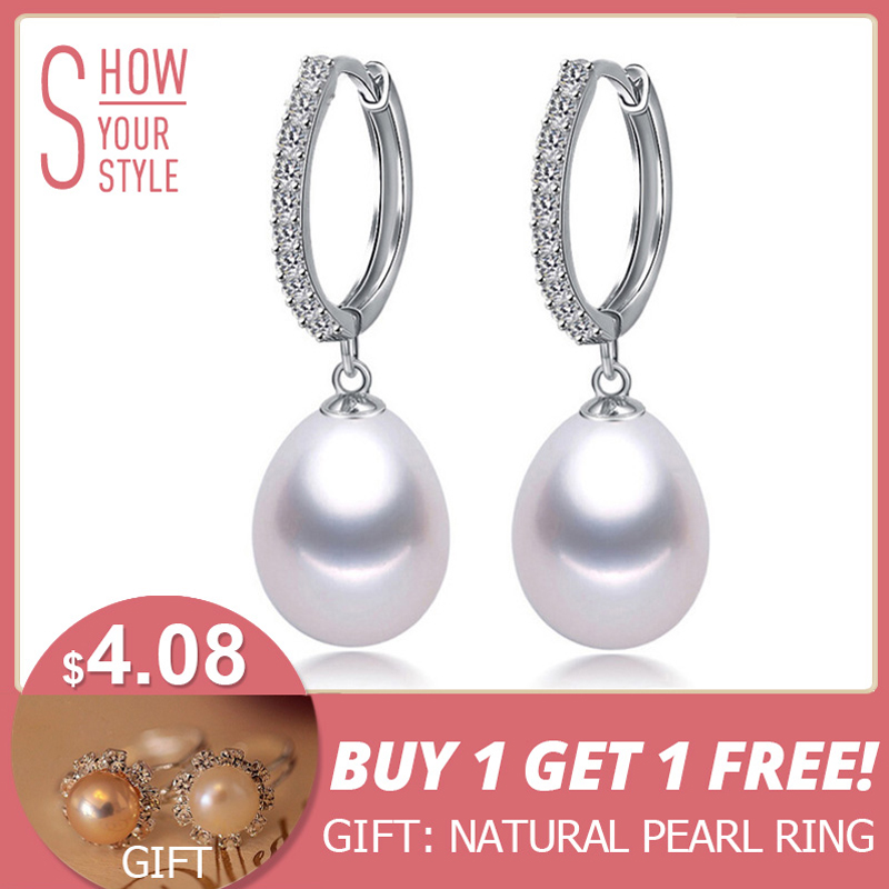 ZHBORUINI 2018 Anting Mutiara Asli Mutiara Air Tawar Alami 925 Sterling Silver Earrings Pearl Jewelry Untuk Wemon Hadiah Pernikahan