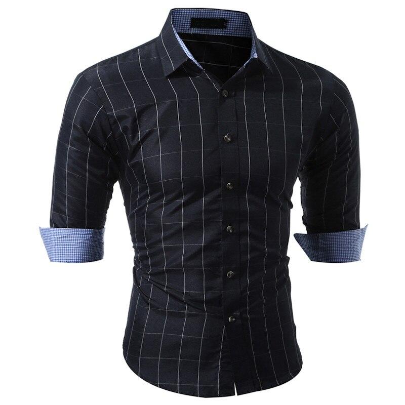 New Men Casual Shirt Fashion Plaid Long Sleeve Tuxedo Men Shirt Plaid Shirts Male Brand-Clothing