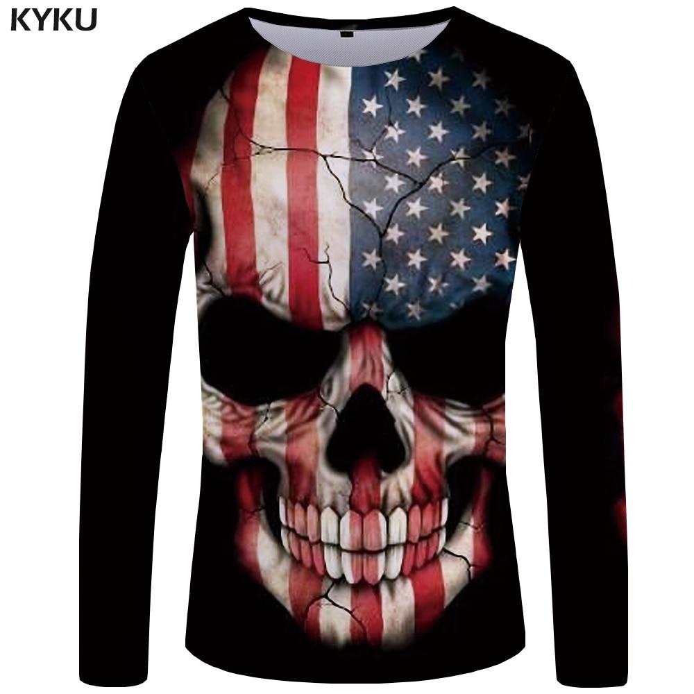 KYKU Brand Skull   T     shirt   Men Long sleeve   shirt   American Tee Rock Funny   T     shirts   Punk Anime Rock Cool Mens Clothing Casual Man