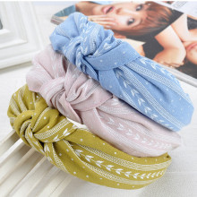 Fashion Women Girls Multi kolory Bowknot Wide Hairband Print Fabric Pałąk Handmade Leaves Print Headwrap Akcesoria do włosów