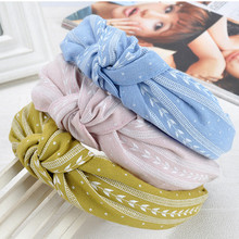 Fashion Women Girls Multi Colors Bowknot Wide Hairband Print Fabric Headband Handmade Leaves Print Headwrap Hair Accessories