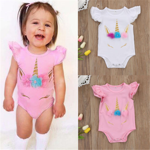 f8a45dcce29 Lovely Newborn Infant Romper Kids Baby Girl Unicorn Romper Clothes Long  Sleeve Ruffles Jumpsuits Clothes 2017 New Cute Body Suit