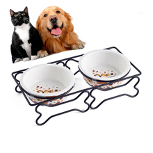 New Fashion Dog Feeders Bowl Ceramic and Stainless Steel Double Mouth Dog Bowl High Grade Antiskid Pet Supplies Accessories he pet supplies cat bowl dog tableware ceramic stainless steel frame easy clean three color high depth and shallow drink bowl