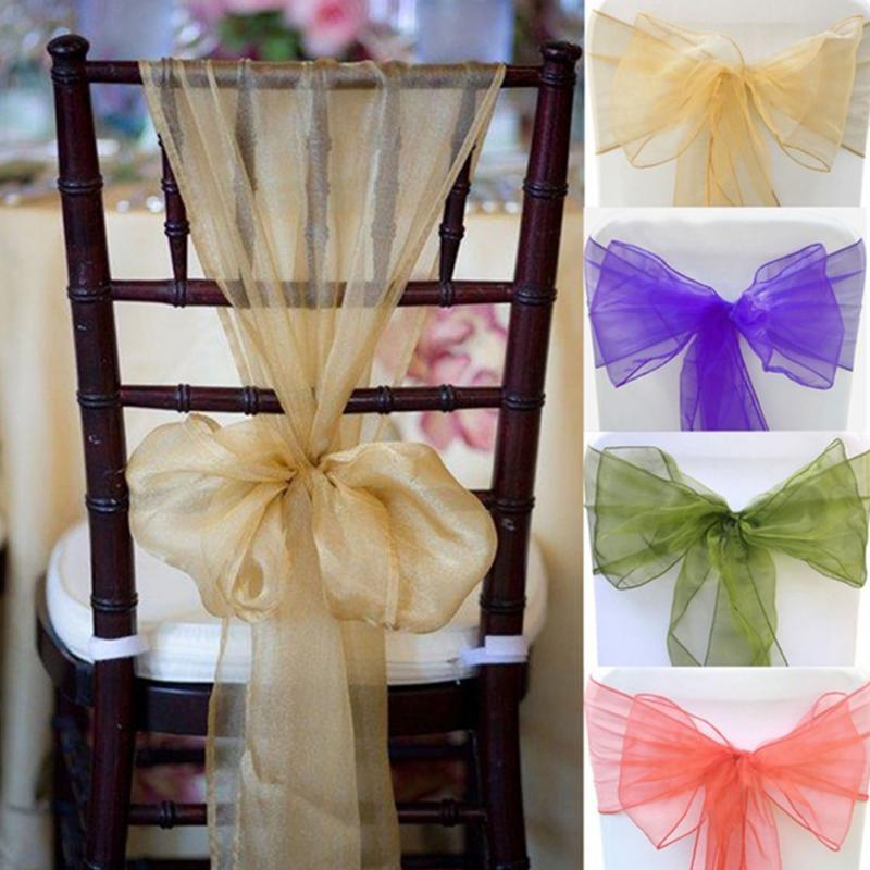 1pc Peach Banquet Satin Chair Sash Wedding Chair Bow Tie For Hotel
