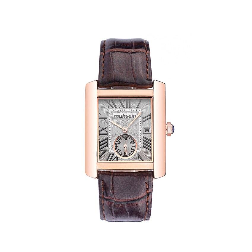 Muhsein rectangulaire d'affaires décontractée étanche bande quartz montre de sport de mode hommes montre