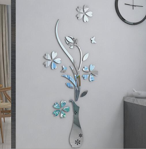 Mirror flower vase 3d crystal acrylic three dimensional wall stickers entranceway mirror furniture decoration sliver