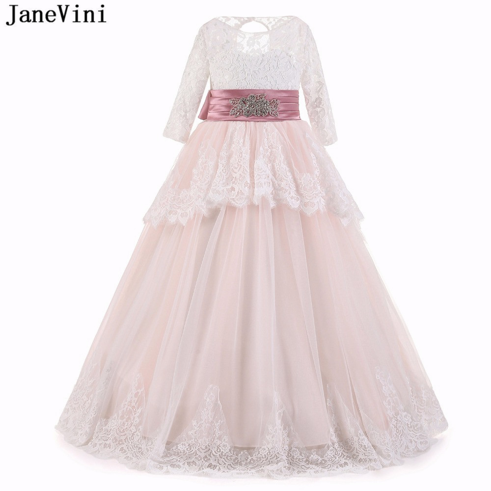 JaneVini Elegant Lace Pageant   Flower     Girl     Dresses   with Sleeves A Line Beaded Sashes Floor Length First Communion   Dress   for   Girls