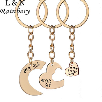 Rainbery Speed Sell Through Selling Good Sisters Keychain Little Middle Big Sister Love Stitching Key Chain