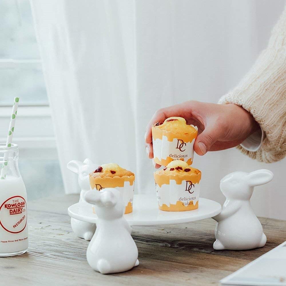 Kreative Porzellan Kaninchen Kuchen Stehen Zier Keramik Hare Dessert Tablett Cupcake Geschirr Decor Geschenk Handwerk Liefert