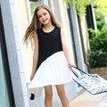 Adolescente Niñas Vestidos de Gasa Del Remiendo Del Diseño Vestido de La Manera Blanco y Negro sistema de gestión de programas para Niñas de Edad 56789 10 11 12 13 14 T Años de edad