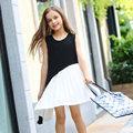 Adolescentes Vestidos de Meninas Chiffon Patchwork Design Preto e Branco Vestido de Moda bailes de formatura para Meninas de Idade 56789 10 11 12 13 14 T Anos velho