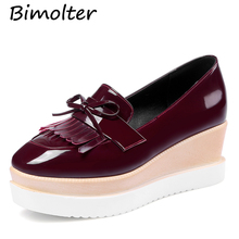 Bimolter Autumn Spring Fashion Women Pumps Round Toe Wedges Shoes Casual Classics Platform Fringe Big Size 32-43 PCEB020