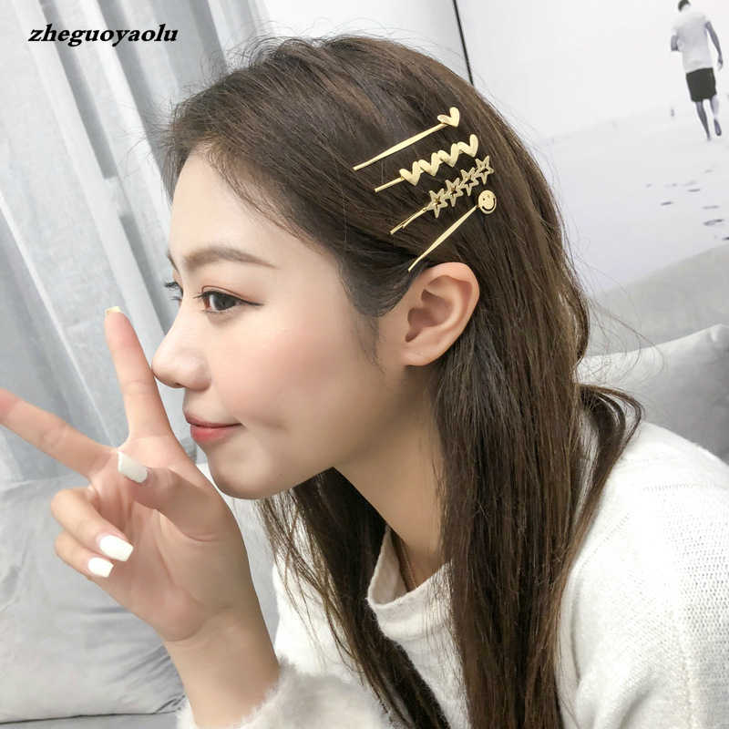 Korea Simple Fashion Metal Five-pointed Star Smiley Face Hairpin Exquisite Bangs Bridal Head Jewelry Accessories Tiara Wedding
