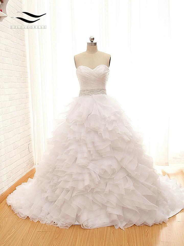 Charme Querida Organza Beads Plissado A-Line do Assoalho-Comprimento Mangas Do vestido de Casamento vestido de Noiva Custom made Real Fotos SL-W657