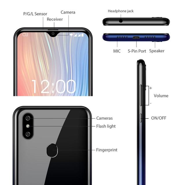 OUKITEL C15 Pro+ 6.088'' 19:9 Cellphone  Android 9.0 Pie 3GB 32GB MT6761 Waterdrop Smartphone Face ID 5G WiFi 4G Mobile Phone 2
