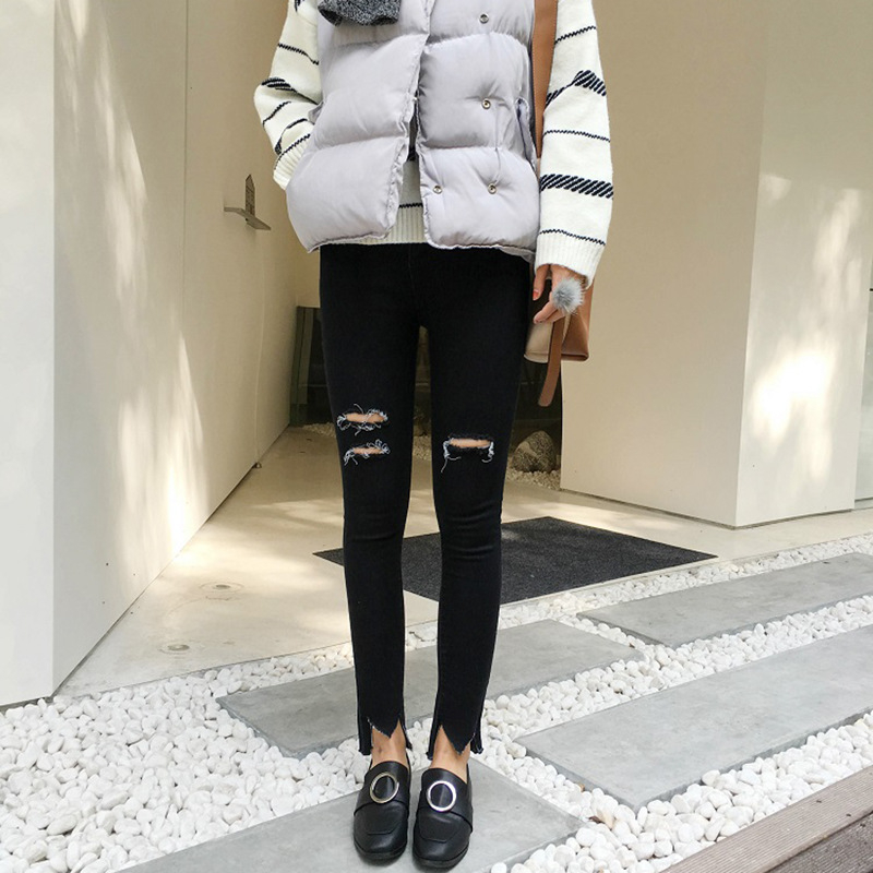 2017 New Fashion Women Spring And Summer Ripped Jeans High Waist Jeans Sexy Plus Size Black Skinny Pencil Pants For Women steakhouse