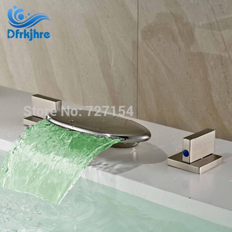 Free Shipping! Deck Mounted Nickel Brushed Bathroom Basin Faucet 2 Handles Mixer LED Sink Mixer