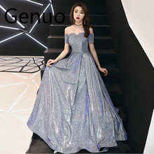 Genuo Luxury Women Dress Summer 2019 Elegant Sexy Off Shoulder Ball Gown Long Party Female Bandage Sequin Maxi 3XL
