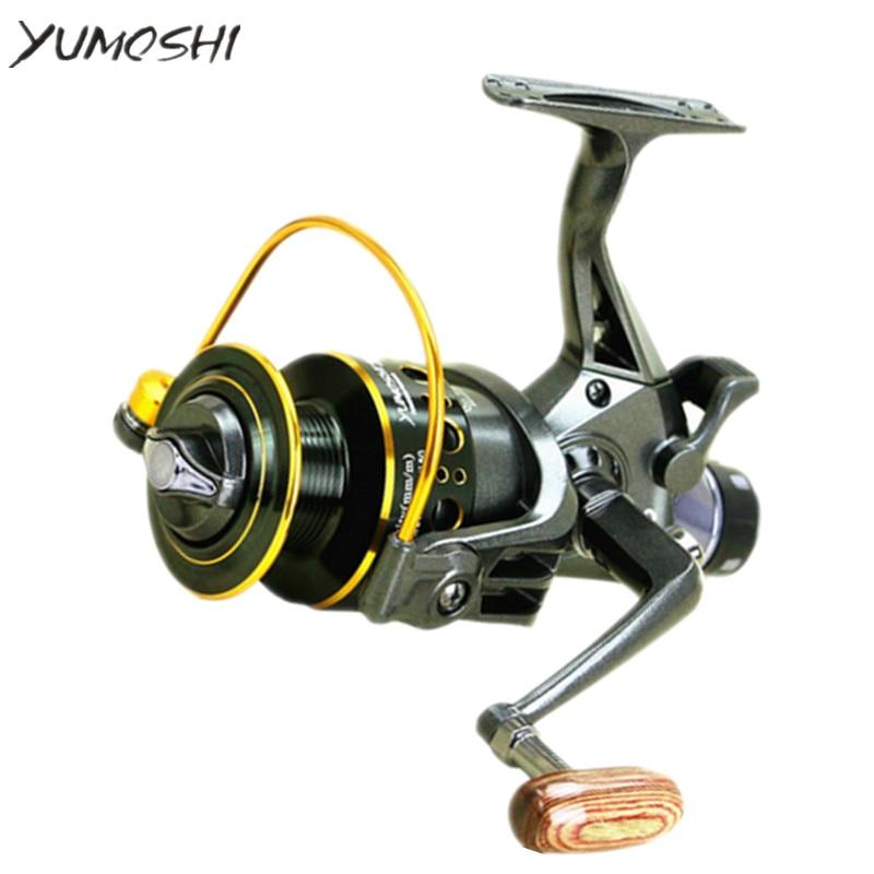 цена на YUMOSHI 5.2: 1 10+1 BB Fishing reel Front and Rear Drag reels Spinning wheel Double Brake Design Fishing Reel Super Strong Carp