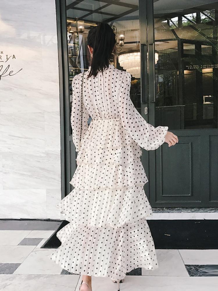 Superposée Dot Robe 2019 Femmes Longue D'été Vintage Beige Printemps Dress Long Polka Plage fwZqnRH