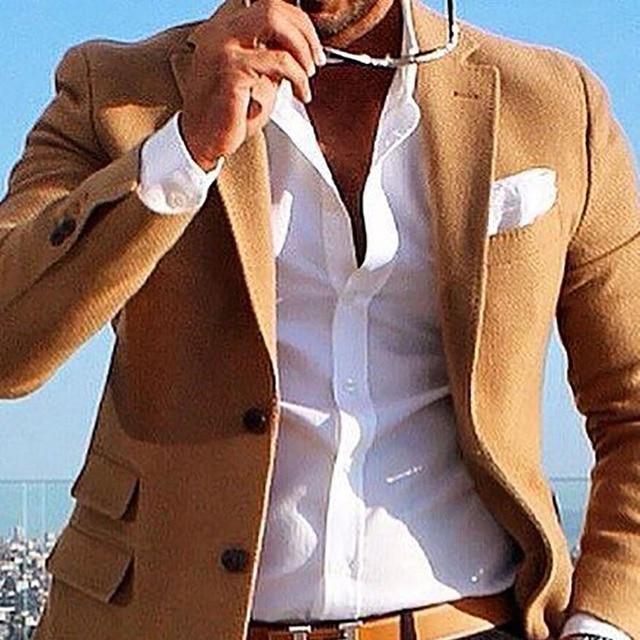 Tweed Brown Jacket Men Coat Custom Made Solid Camel Brown Men's ...