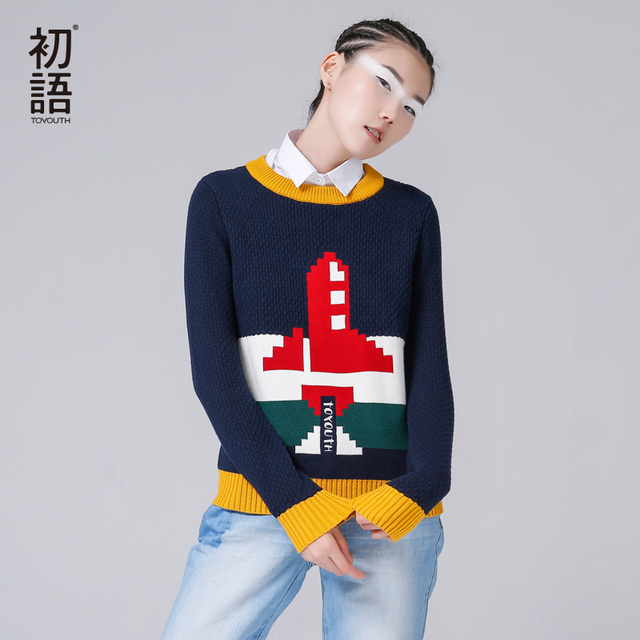 Toyouth 2017 New Arrival Sweaters Women Cotton Casual Printed Sweaters Autumn Pullovers O-Neck